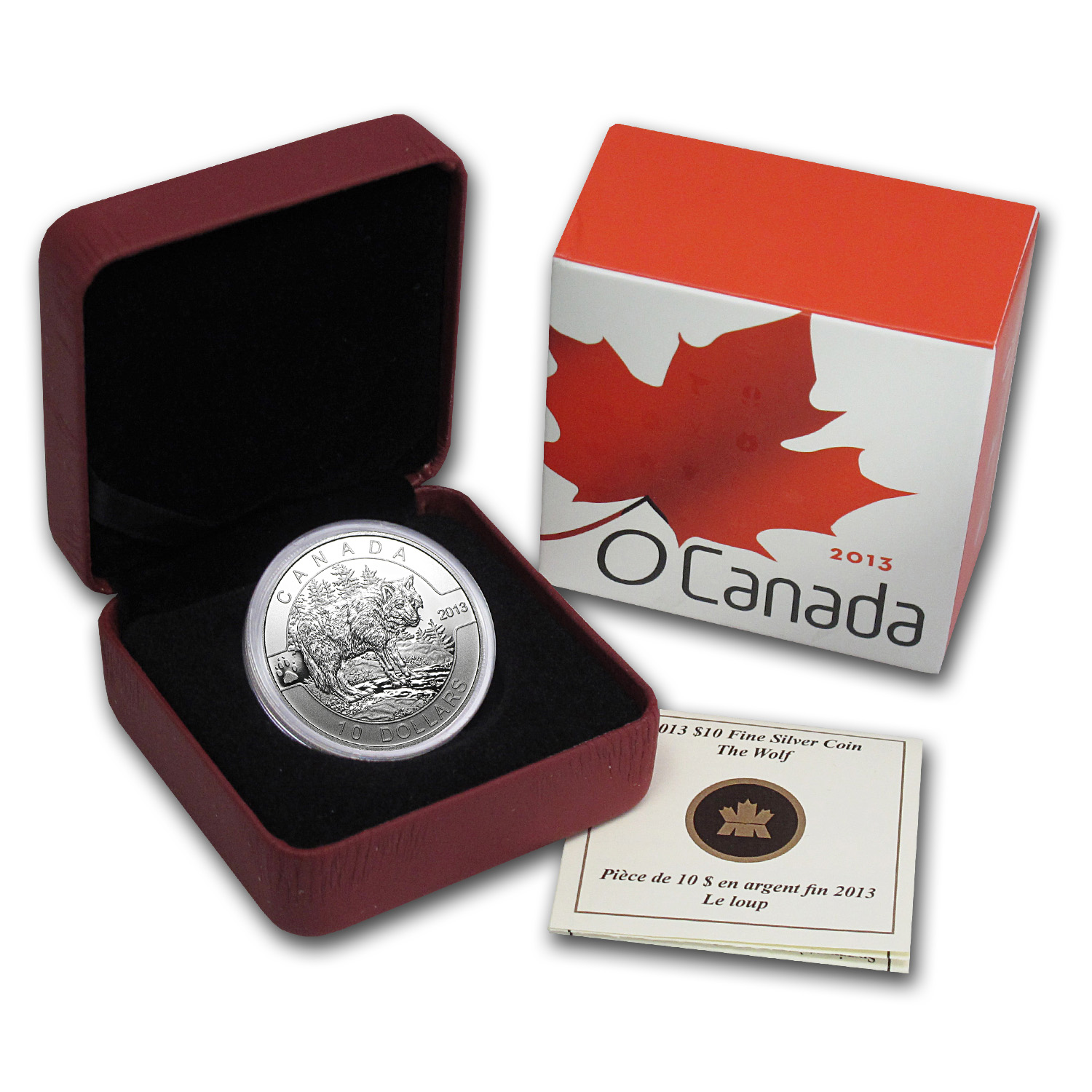 2013 1/2 oz Silver Canadian $10 The Wolf (W/Box & COA)